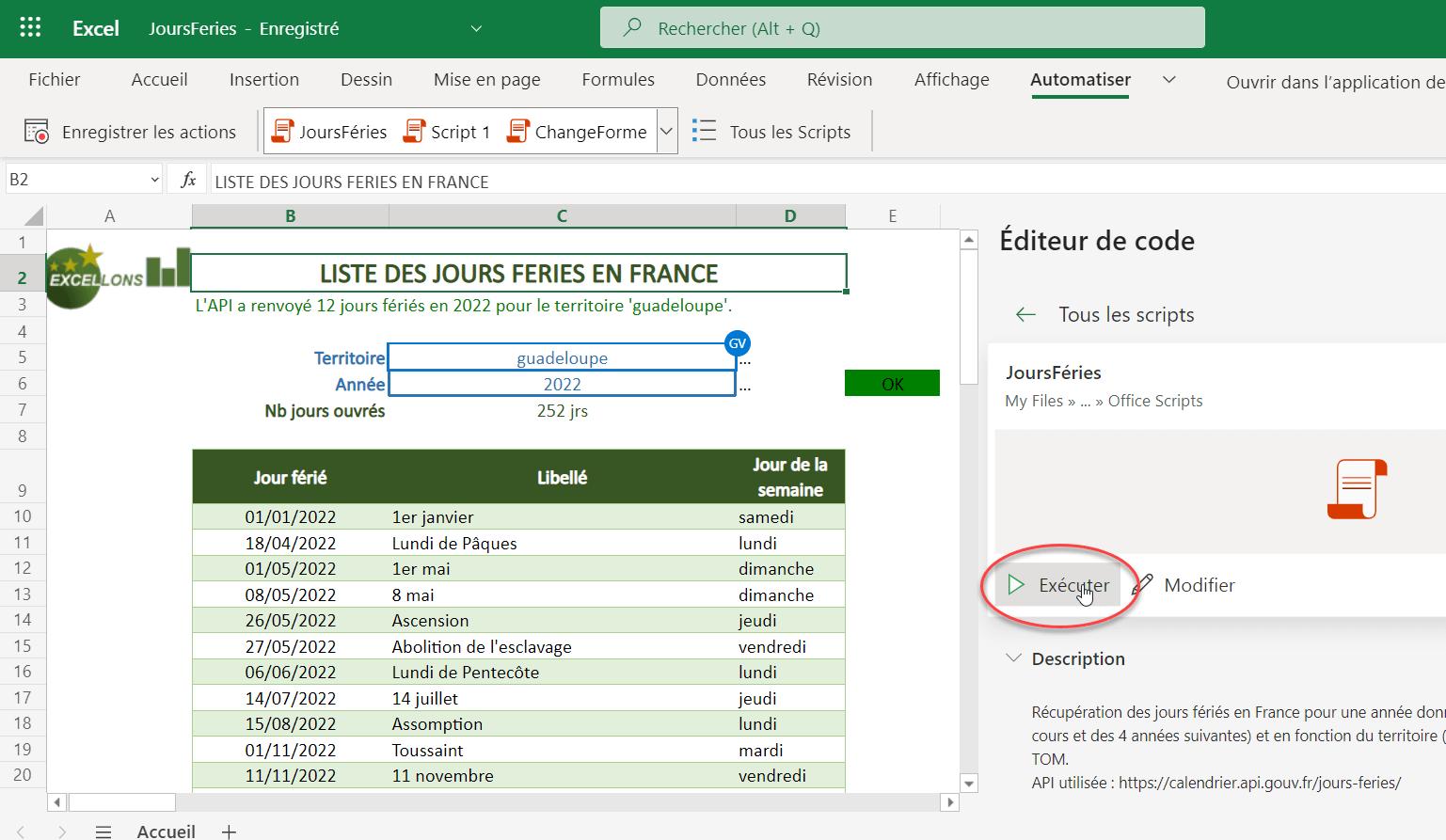 """Application EXCEL """"Jours fériés en France"""""""